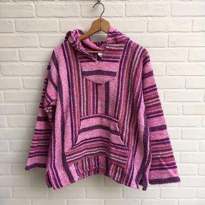 Vintage Pink Mexican Poncho Sweatshirt